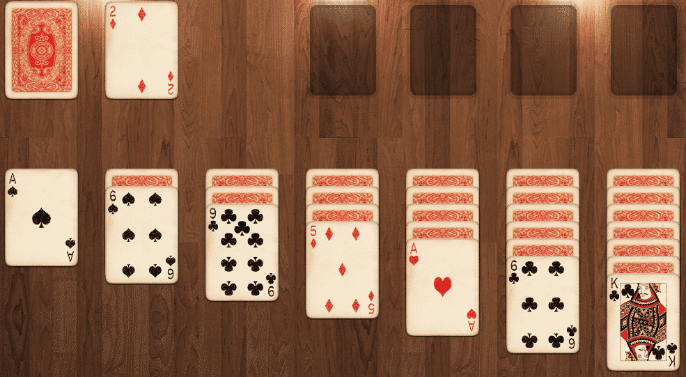 pasjans kaarten delen omgedraaid